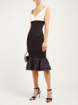 EMILIO DE LA MORENA Shirred polka-dot jacquard midi dress ~ vintage style glamour