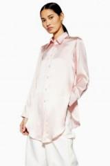 Topshop Boutique Side Split Silk Shirt in Pale Pink | silky longline shirts
