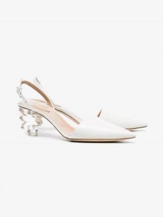 Simone Rocha White 55 Floral Plexiglass Heel Leather Pumps ~ pretty flower heeled slingbacks