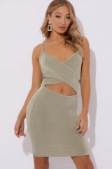 IN THE STYLE SINDRI SAGE GREEN SLINKY CUT OUT MINI DRESS ~ evening glamour