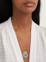 JACQUIE AICHE Sleeping Beauty diamond & 18kt gold ammonite pendant necklace ~ luxe jewellery
