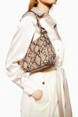 TOPSHOP Snake Mini Shoulder Bag in Natural