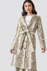 NA-KD Trend ~ Snake Printed PU Coat Beige