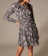 KAREN MILLEN Snakeskin Print Mini Dress ~ ruffle trim fit and flare