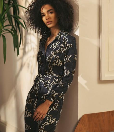 KAREN MILLEN Snakeskin-Print Jumpsuit ~ glamorous animal prints