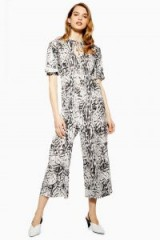 Topshop Snow Leopard Jumpsuit in Monochrome | black and white cropped leg jumpsuits