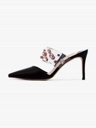 Sophia Webster Black Dina 85 Rhinestone Embellished Mules ~ jewelled PVC strap mule - flipped