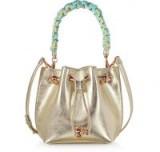 Forzieri SOPHIA WEBSTER Champagne Laminated Leather Romy Mini Bucket Bag – bling alert!