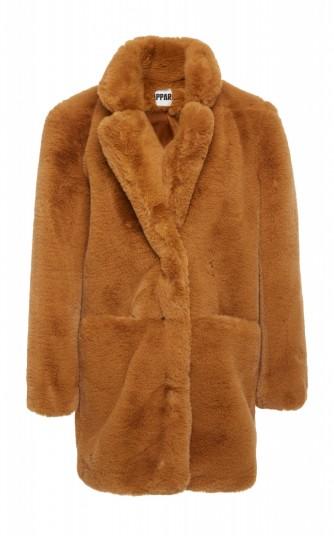 Apparis Sophie Faux Fur Coat in Brown   luxe style winter coats