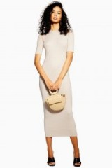 TOPSHOP Spliced Knitted Dress in Ivory | chic knitwear