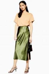 Topshop Split Satin Bias Midi Skirt in Olive | dark-green slinky skirts