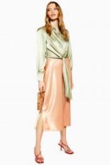 Topshop Split Side Satin Bias Midi Skirt in apricot | slinky skirts