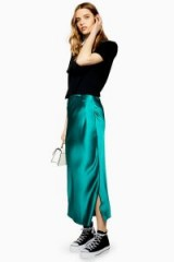 TOPSHOP Split Side Satin Bias Midi Skirt in Emerald – slinky skirts