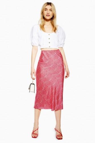 Topshop Spot Animal Bias Midi Skirt in Red