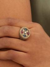 JADE JAGGER Star Medallion sapphire, pearl & 18kt gold ring ~ boho gemstone rings