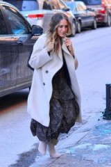 Sarah Jessica Parker black and white ruffle dress, WARM Sierra Floral Cotton Long Dress, out in Soho, New York, 31 January 2019 | celebrity street style
