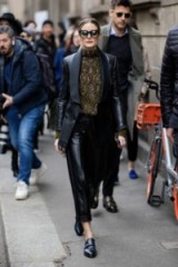 Olivia Palermo black side buckle flats during Milan Fashion Week, SANTONI double-buckled monk shoes, attending the Ermanno Scervino Show in Milan, 23 February 2019 | celebrity street style | MFW
