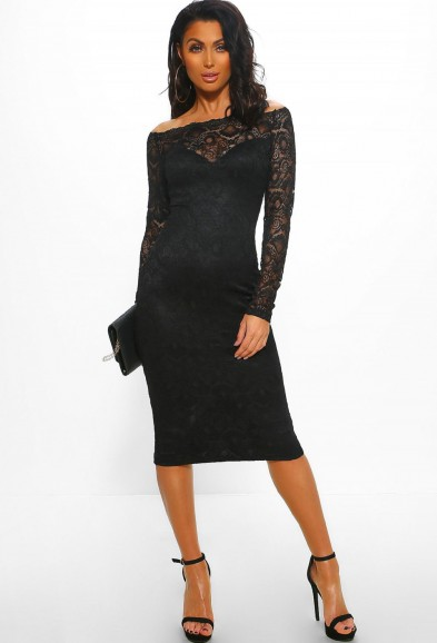 PINK BOUTIQUE Stay Tonight Black Lace Long Sleeve Bardot Midi Dress – LBD