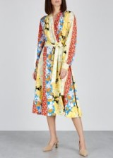 STINE GOYA Reflection floral-print silk dress. MULTI PRINTED STRIPES