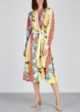 STINE GOYA Reflection floral-print silk dress. MULTI PRINTED STRIPES