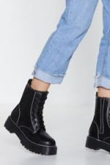 NASTY GAL Stitch-y Situation Biker Boot in black – chunky combat boots