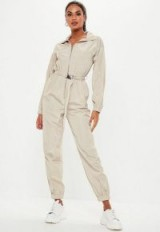 MISSGUIDED stone belted shell jumpsuit ~ utility style jumpsuits