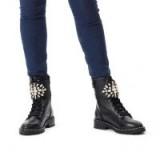 KURT GEIGER LONDON STOOP Black Low Heel Crystal Embellished Biker Boots