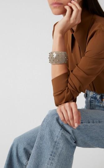 Bottega Veneta Studded Resin Cuff in Brown | chunky cuffs