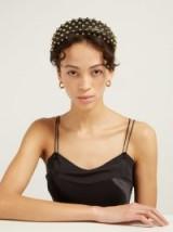 PRADA Stud-embellished black leather headband ~ studded headbands