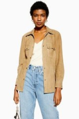 TOPSHOP Suede Shirt in Taupe – casual light brown shirts