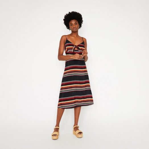 WAREHOUSE SUNSET STRIPE TIE FRONT DRESS / thin strap sundress