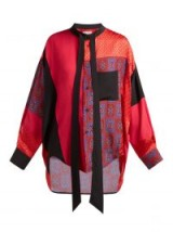 BALENCIAGA Swing patchwork print-panel silk blouse in red