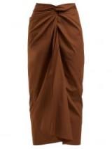 MAX MARA Tacito skirt ~ brown front gathered skirts