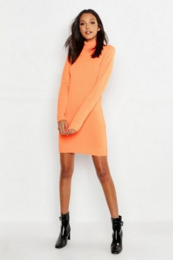 boohoo Tall Roll Neck Jumper Dress in Neon-Orange