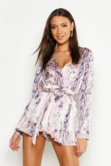boohoo Tall Snake Print Tortoise Shell Buckle Playsuit in Blush ~ glamorous prints ~ going out fashion