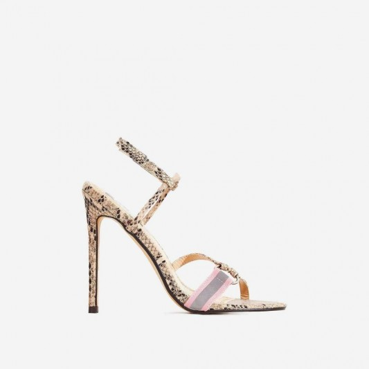 EGO Tasmin Square Toe Barely There Heel In Nude Snake Print Faux Leather ~ glamorous strappy heels