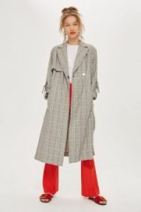 TOPSHOP Textured Check Trench Coat