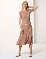 M&S COLLECTION Textured Knitted Midi Skirt in light tan mix / skirts with movement