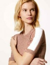 M&S COLLECTION Textured Round Neck Short Sleeve Jumper in light tan mix / ribbed knit crew neck