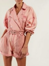 ISABEL MARANT Thalia double-breasted washed-denim jacket in pink