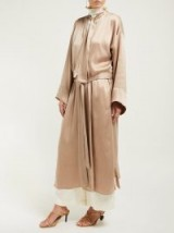WORME The Long silk crepe de Chine robe in beige