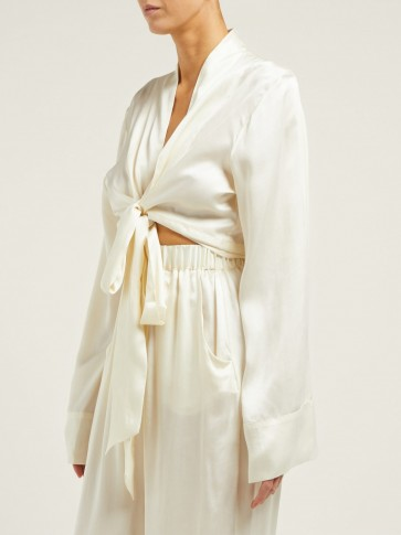 WORME The Wrap silk-satin top ~ cream front tie blouse