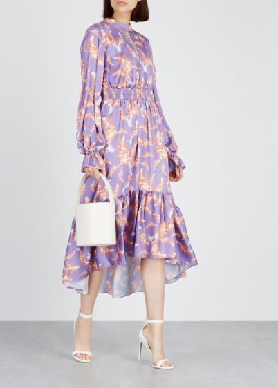 THREE FLOOR Lisbon Sister floral-print satin dress – ruffled trims