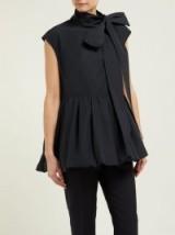 VALENTINO Tie-neck faille top in black