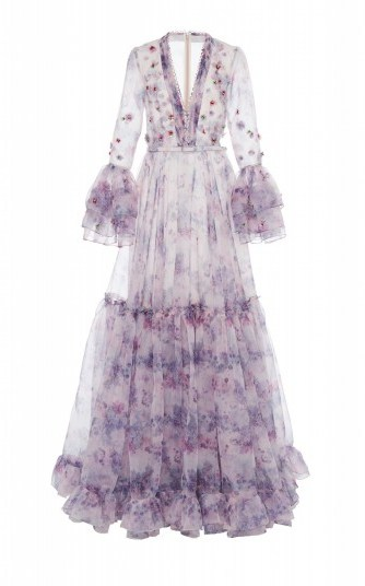 Costarellos Tiered Embellished Printed Organza Gown in Purple ~ red carpet style dresses - flipped