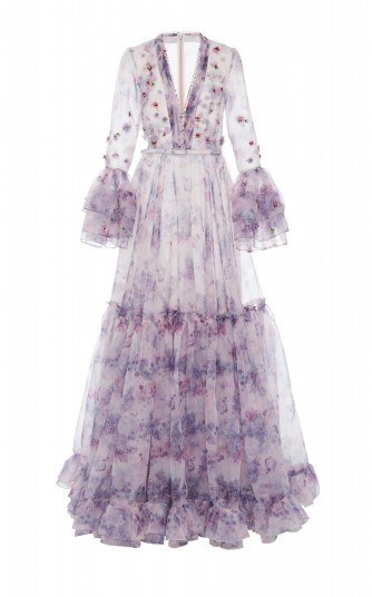 Costarellos Tiered Embellished Printed Organza Gown in Purple ~ red carpet style dresses