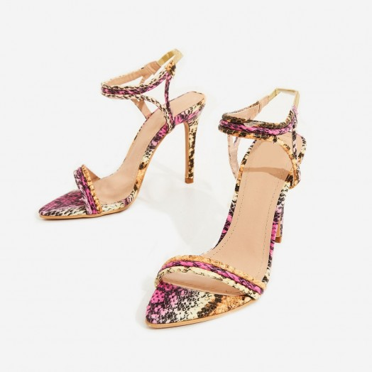 EGO Tilo Pointed Toe Barely There Heel In Pink Snake Faux Leather ~ multi coloured going out heels