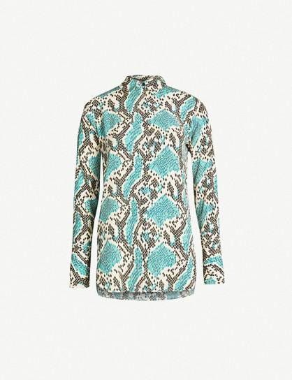 TOPSHOP Mensy Python-print crepe shirt in blue – snake prints