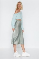 NASTY GAL Touch By Touch Satin Midi Skirt in mint – light green bias cut skirts