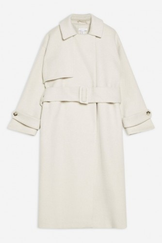 TOPSHOP Trench Coat in Ivory – belted coats